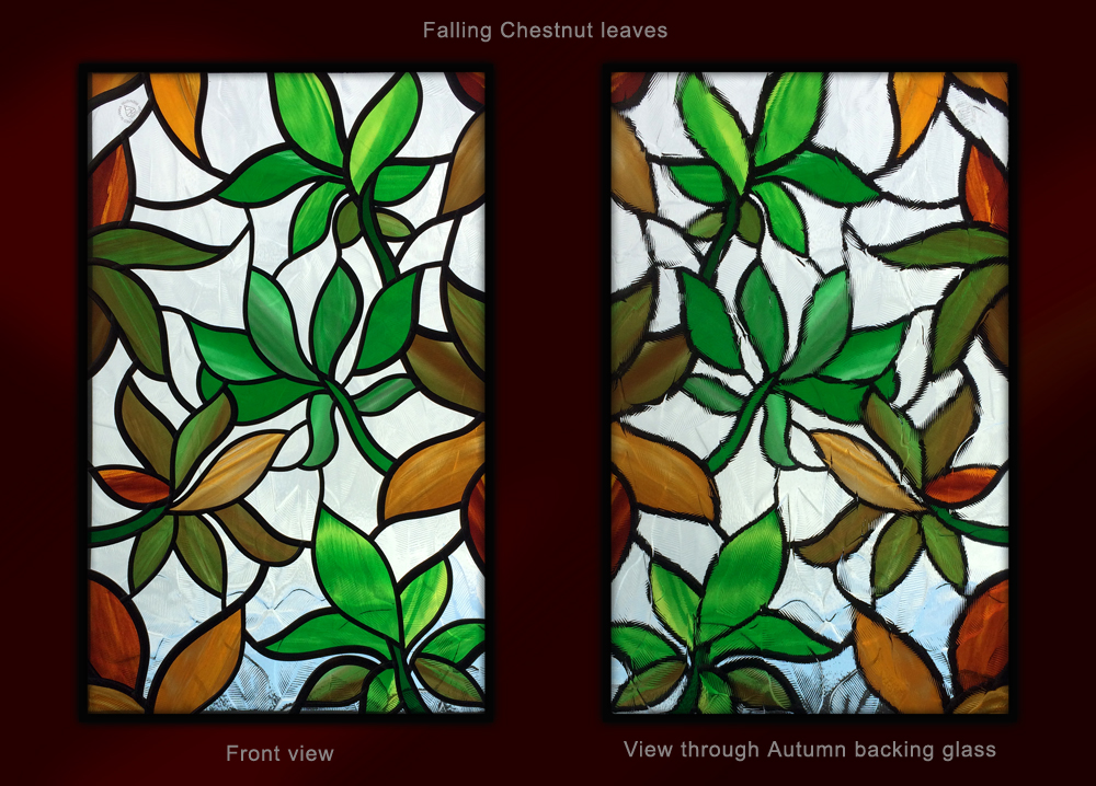 Chestnut leaves stained glass