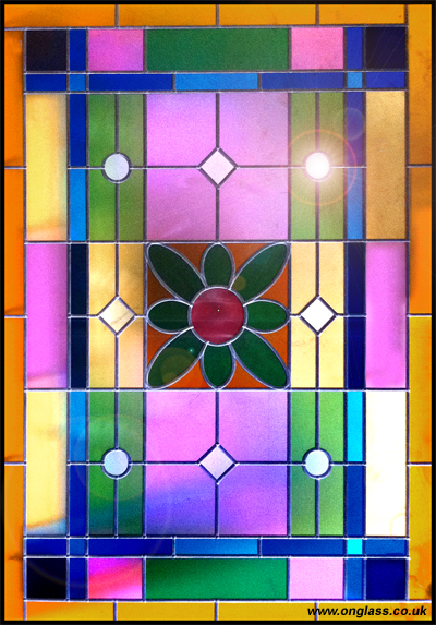 Stained glass colourful panel