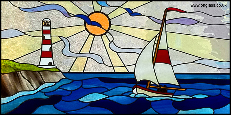 Sailing boat stained glass window